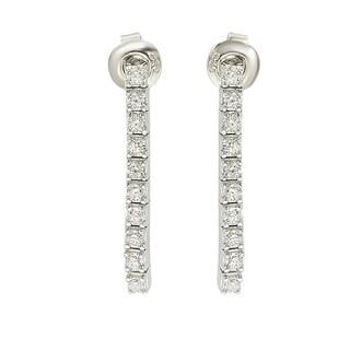 Suzy Levian Sterling Silver Cubic Zirconia White Line Dangle Earrings