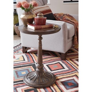 Jefferson Market Traditional Aged Whiskey Round Accent Table