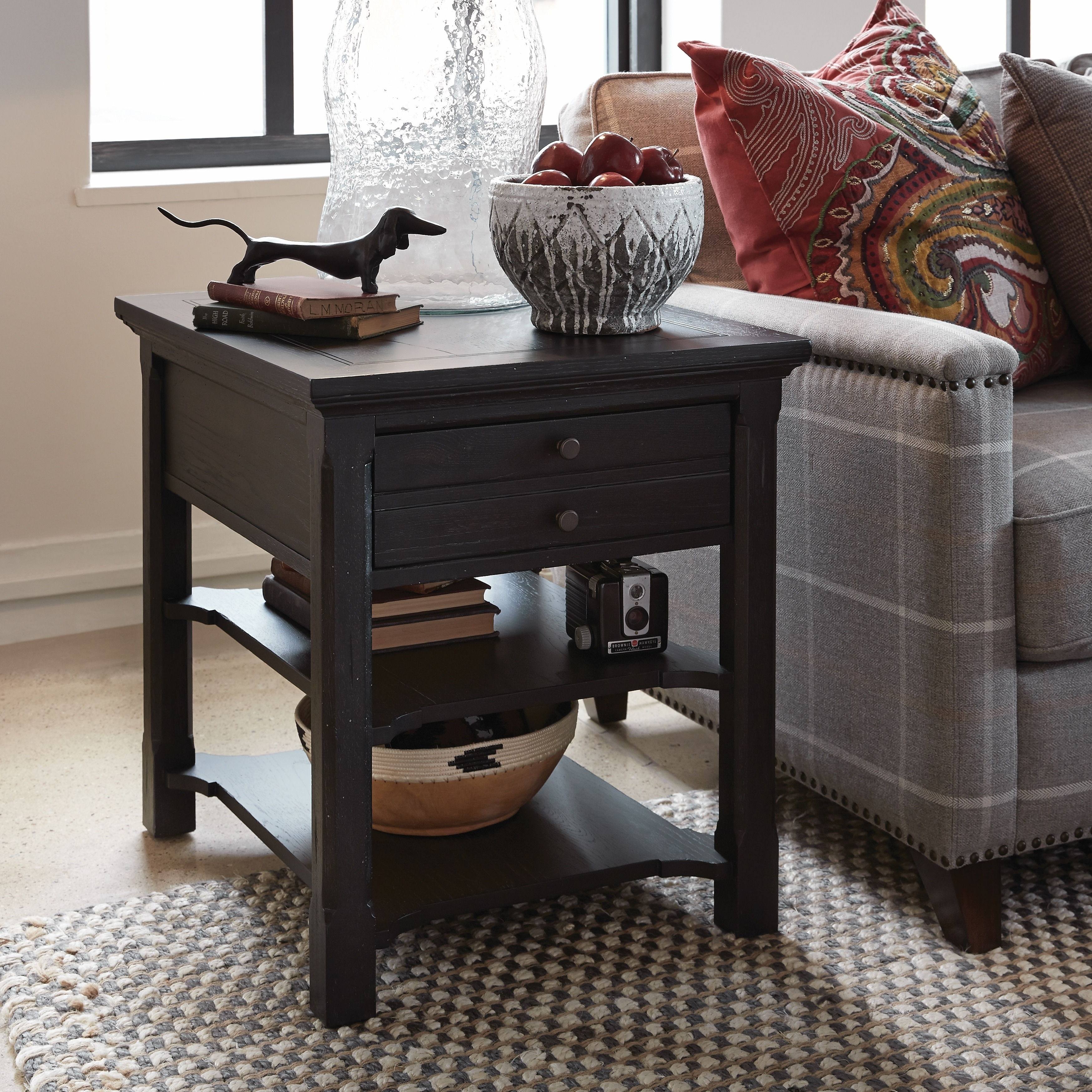 Hudson Square Traditional Vintage Charcoal End Table