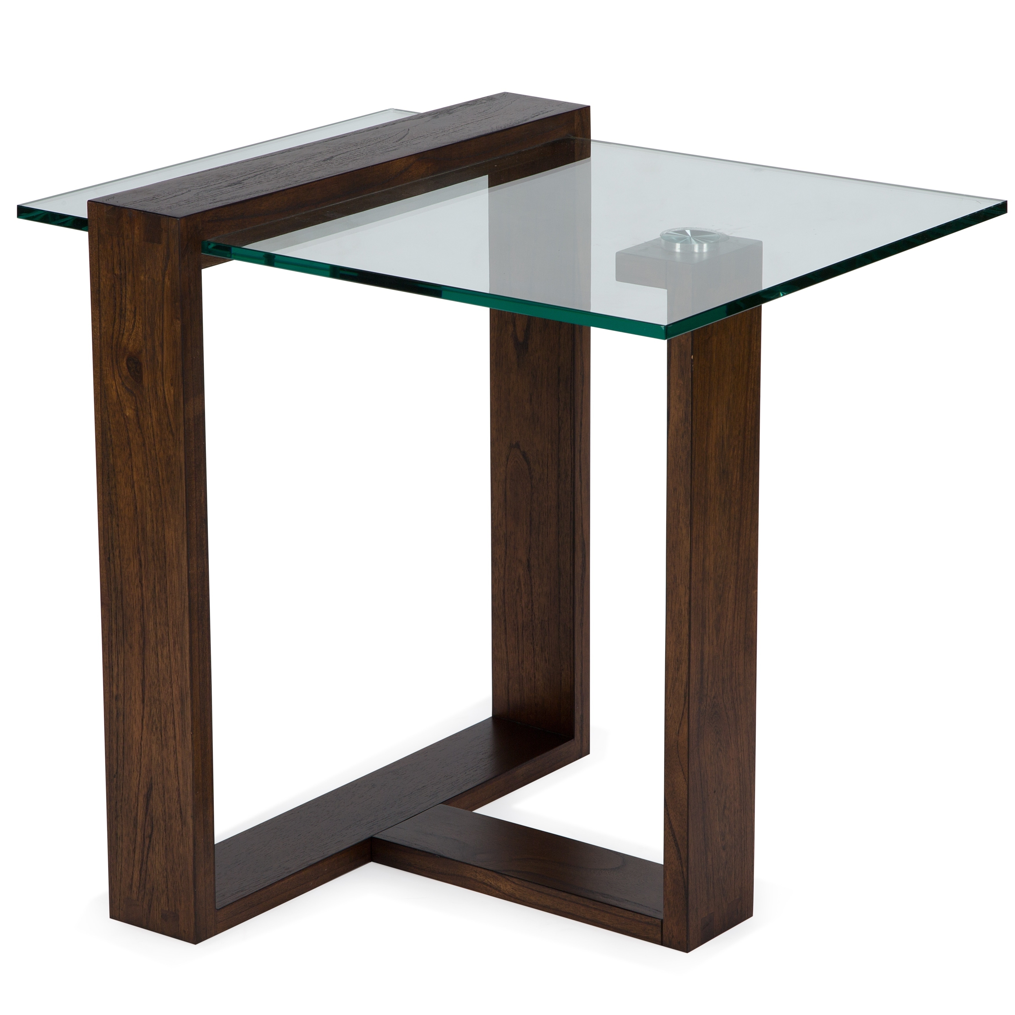 Bristow Modern Acorn Wood and Glass Rectangular End Table