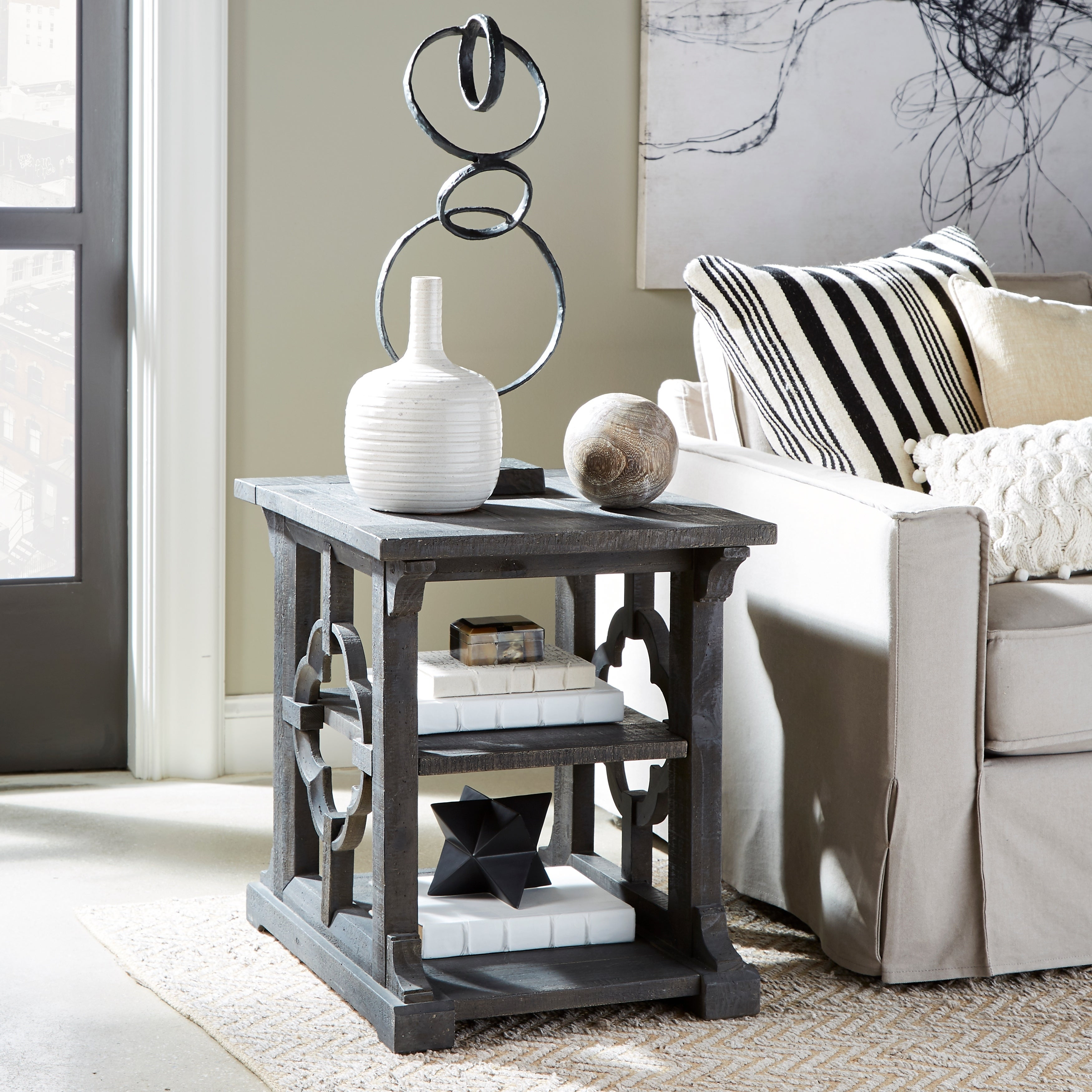 Norwood Farmhouse Rustic Grey Rectangular End Table