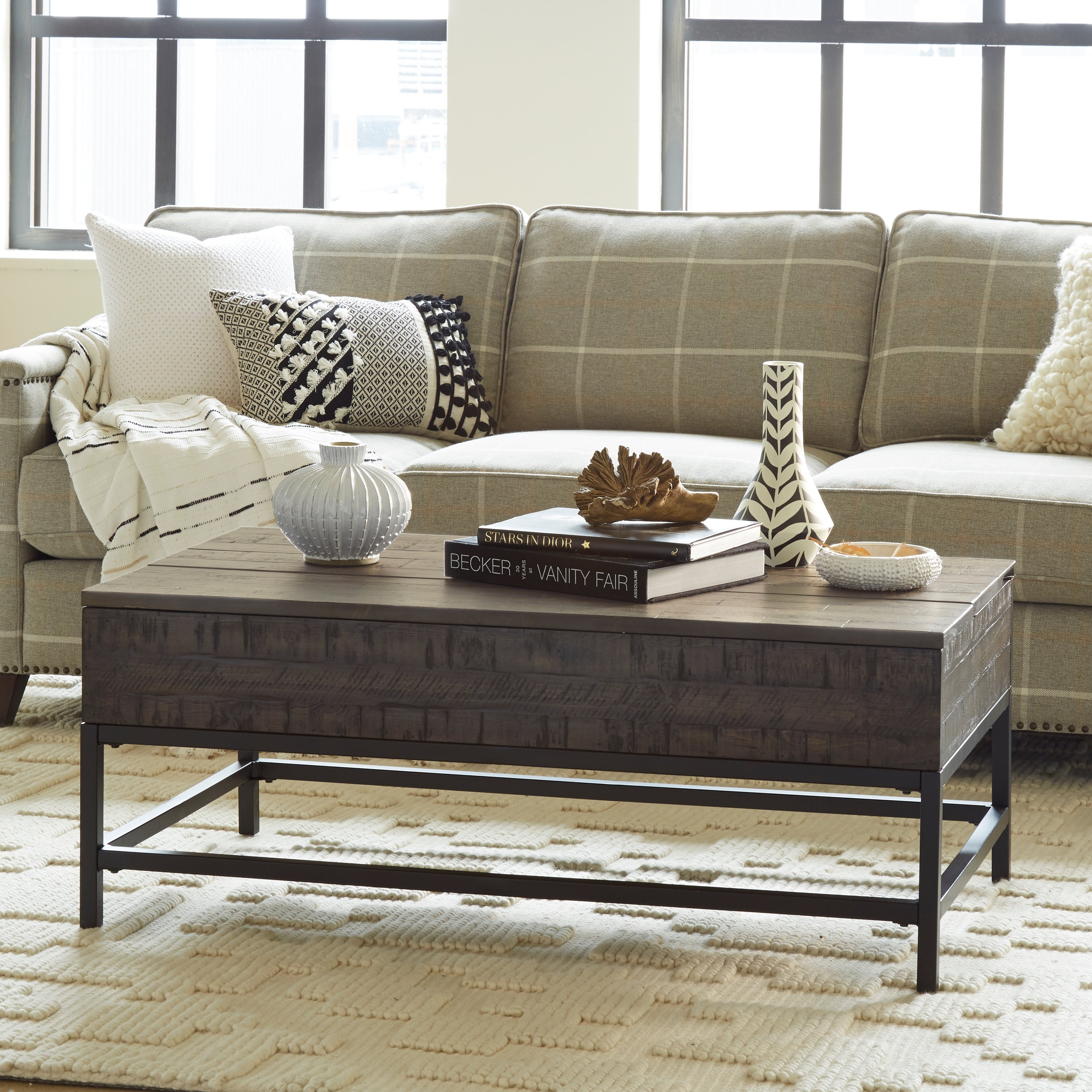 Parker Rustic Distressed Whiskey Lift Top Coffee Table