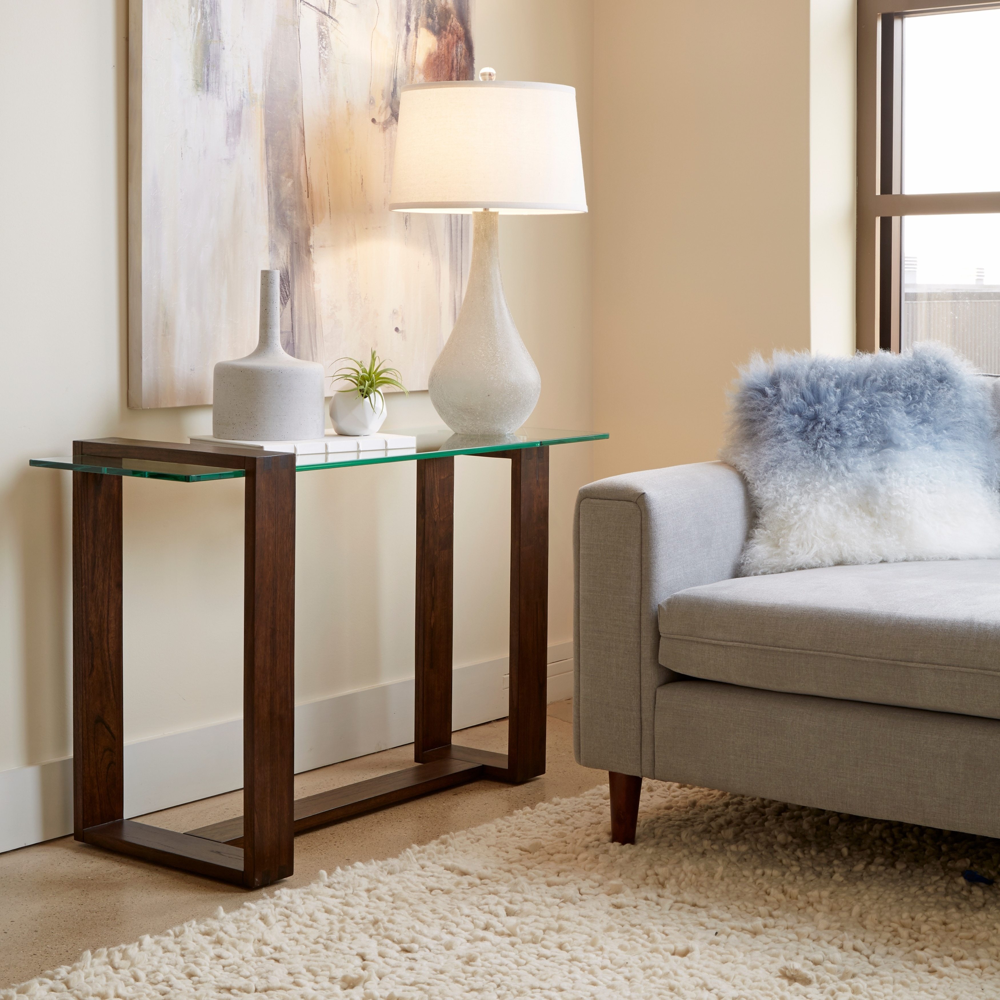 Bristow Modern Acorn Wood and Glass Entryway Sofa Table