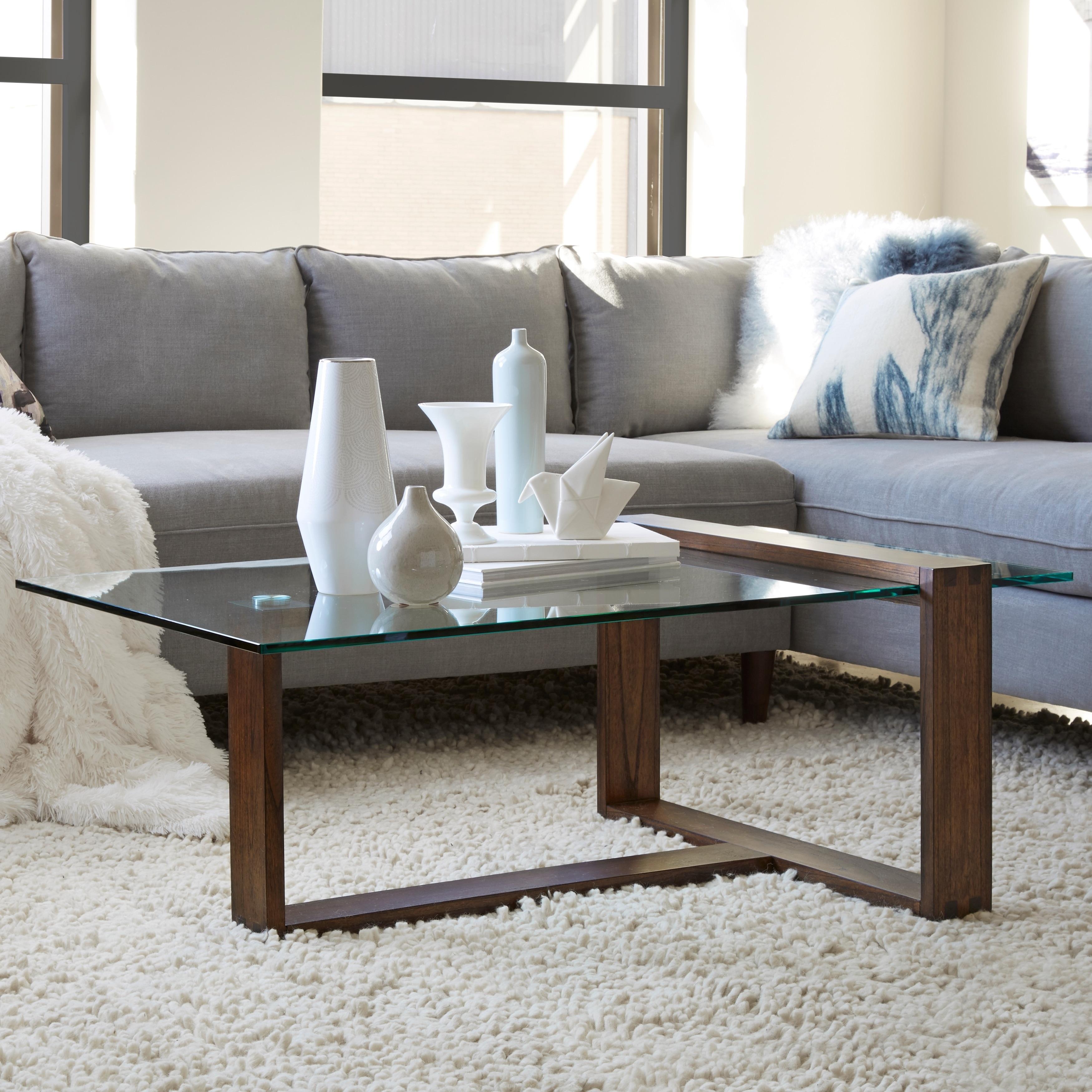 Bristow Modern Acorn Wood and Glass Rectangular Coffee Table