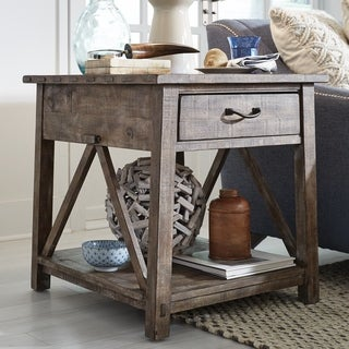 Bluff Heights Rustic Weathered Nutmeg Rectangular End Table