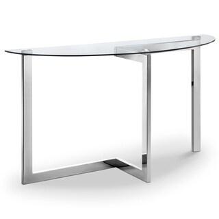 Aries Modern Chrome and Glass Top Demilune Sofa Table