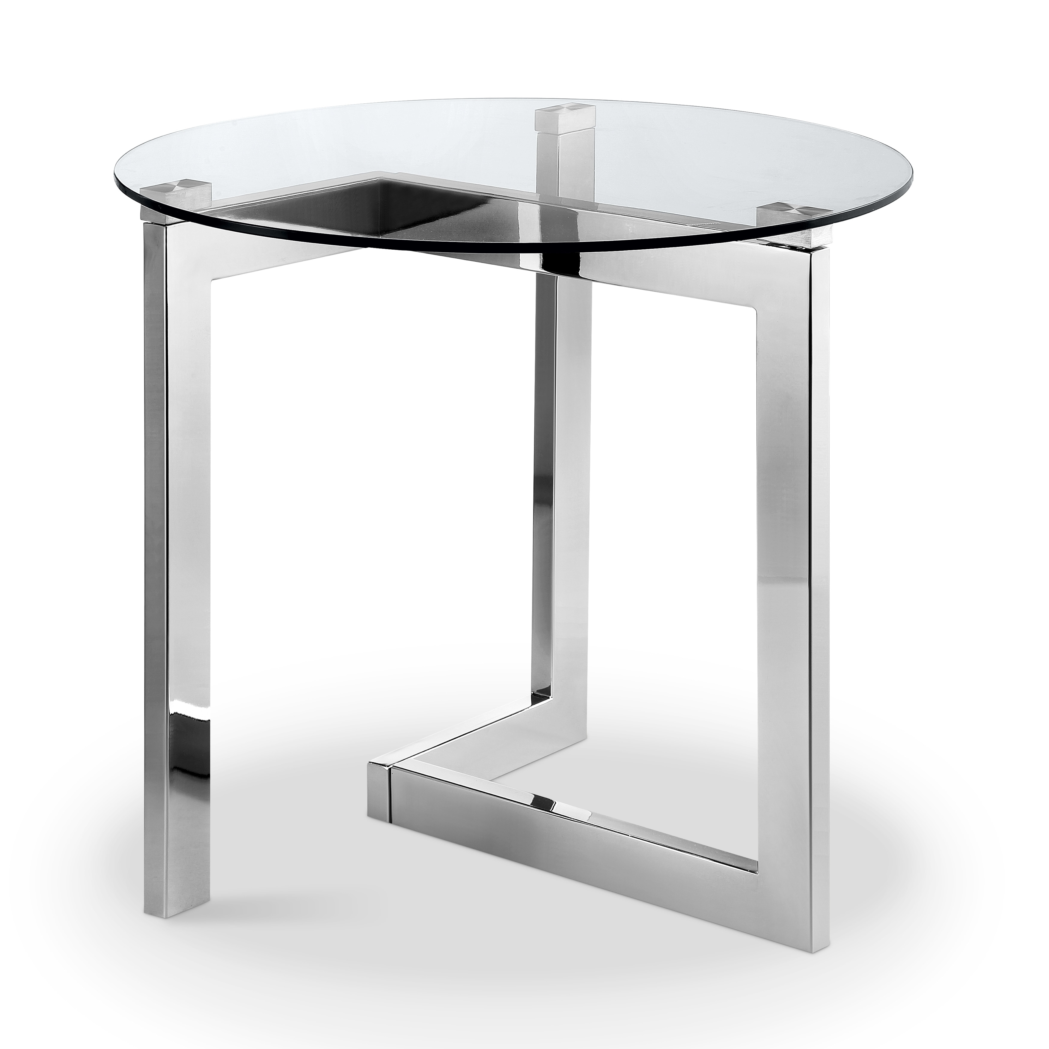Aries Modern Chrome And Gl Top Round End Table