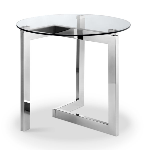 Aries Modern Chrome and Glass Top Round End Table