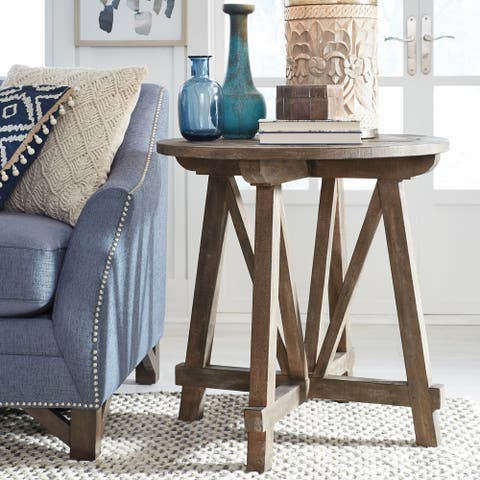 Bluff Heights Rustic Weathered Nutmeg Round Accent Table