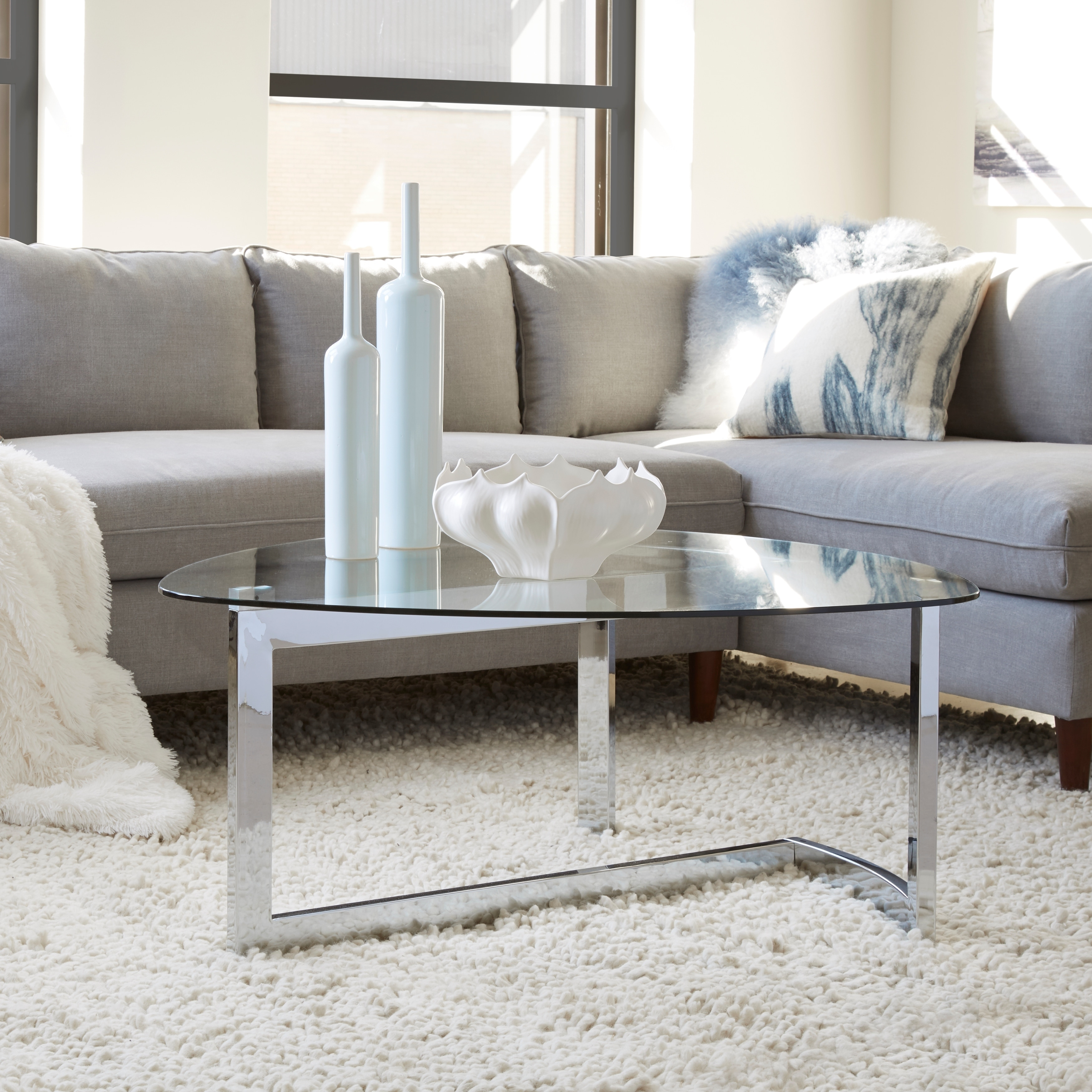 Aries Modern Chrome and Glass Top Shaped Cocktail Table