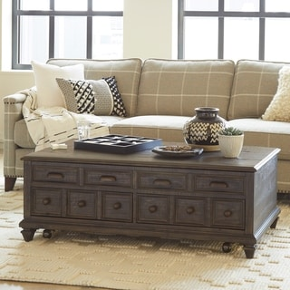 Burkhardt Traditional Rustic Lift Top Storage Coffee Table
