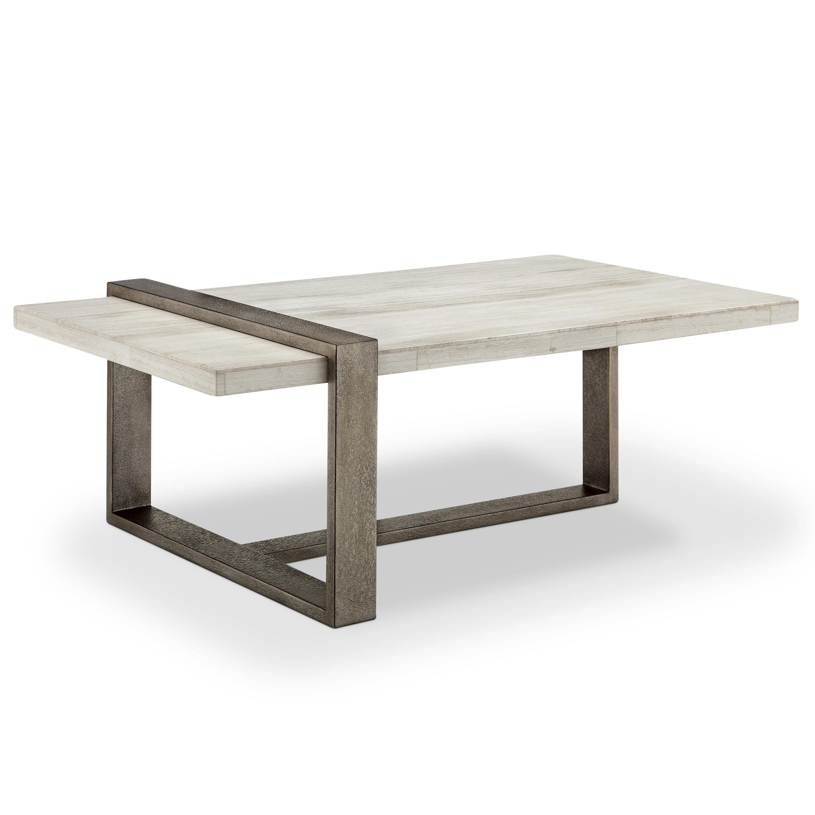 Wiltshire Modern Marble Veneer and Metal Coffee Table