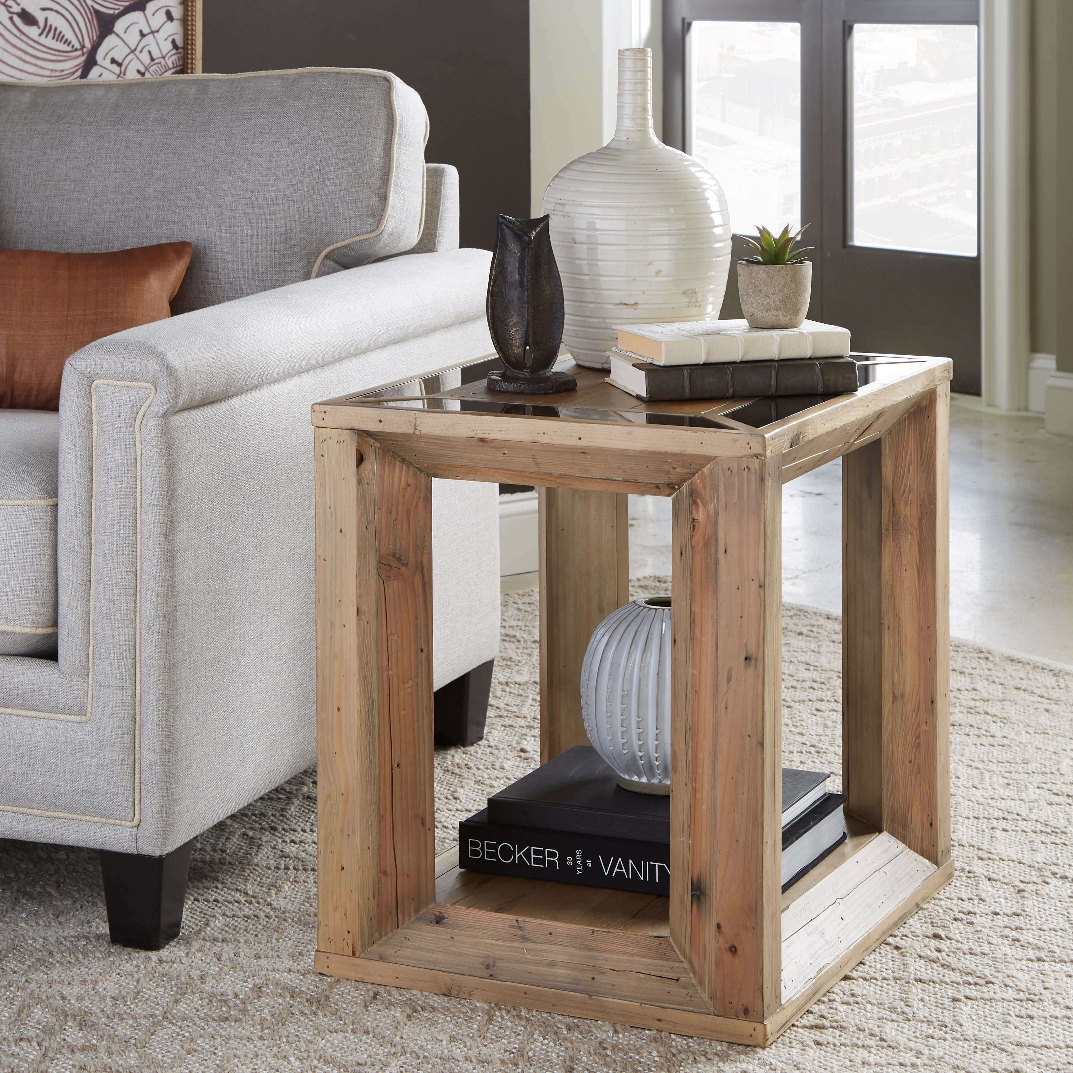 Brunswick Farmhouse Honey Wheat Rectangular End Table