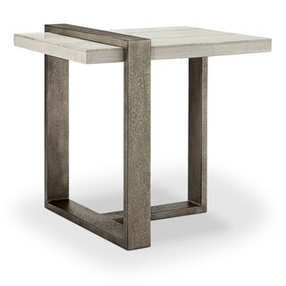 Wiltshire Modern Sea Shell Marble Veneer and Metal End Table