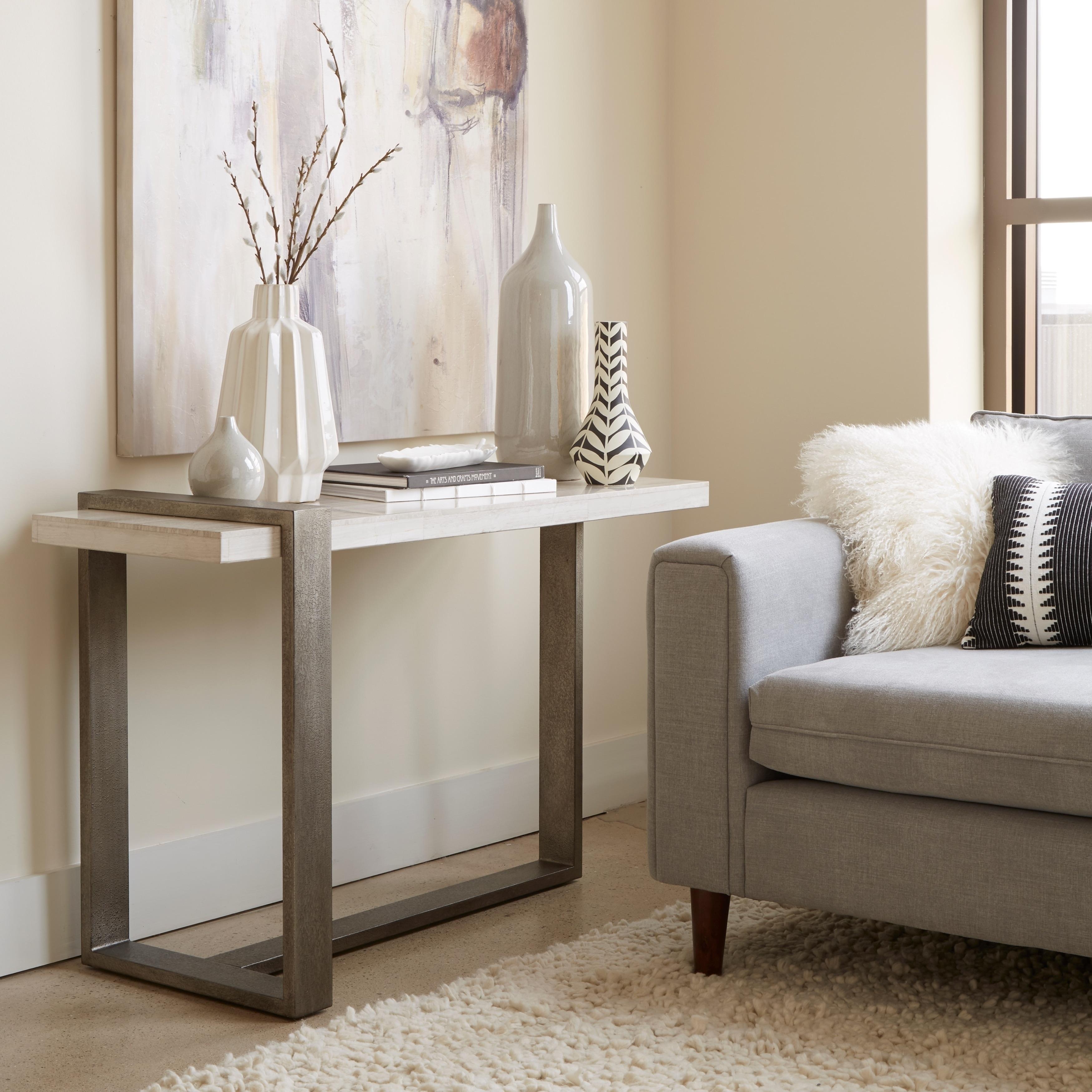 Wiltshire Modern Marble Veneer and Metal Sofa Table