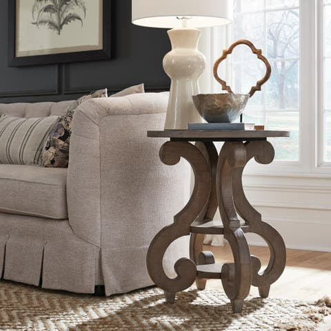 Tinley Park Traditional Dove Tail Grey Round Accent Table