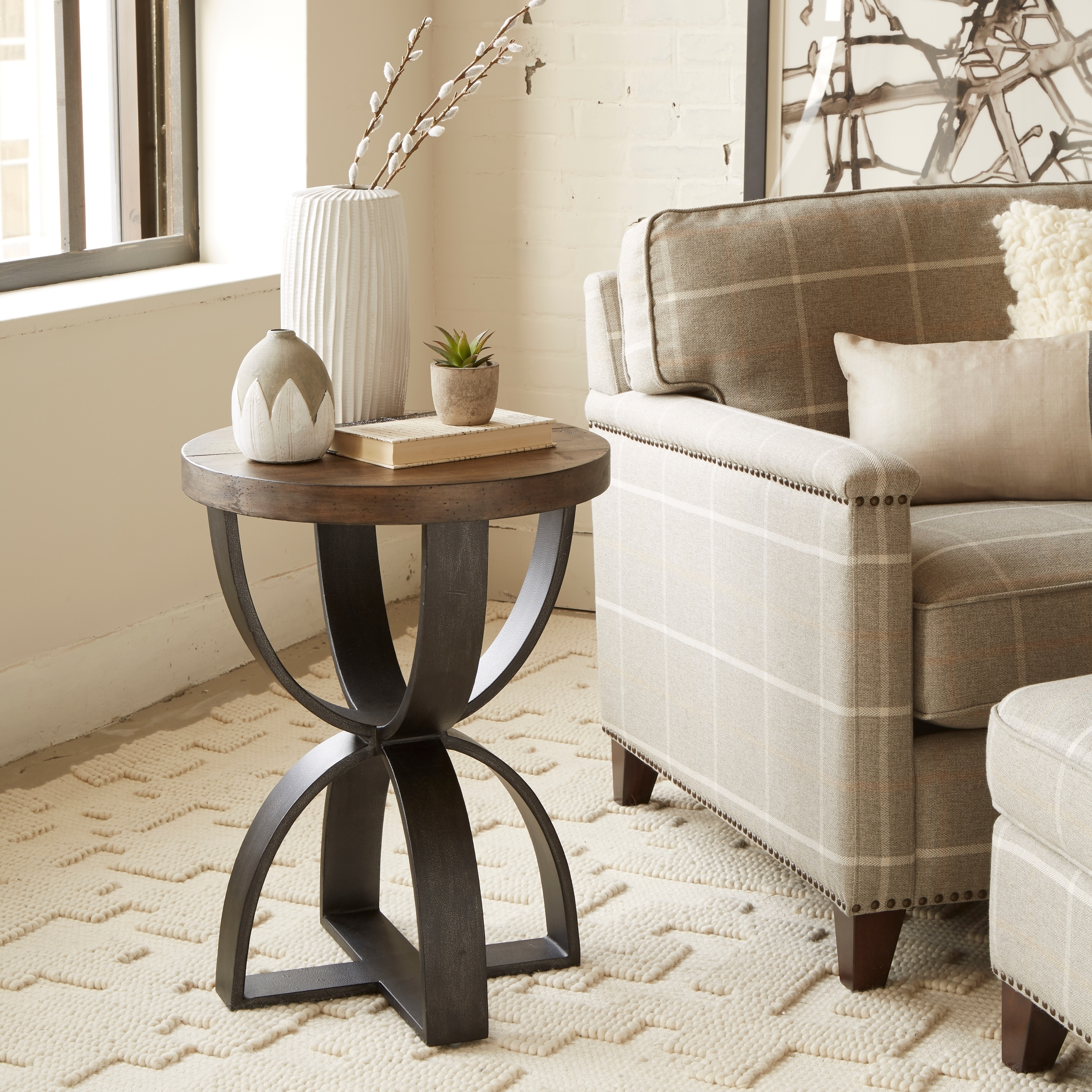 - Shop Bowden Industrial Rustic Honey Round Accent Table - Overstock