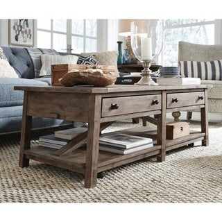 Bluff Heights Rustic Weathered Coffee Table with Casters
