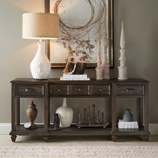 Burkhardt Traditional Rustic Peppercorn Entryway Sofa Table. Opens flyout.