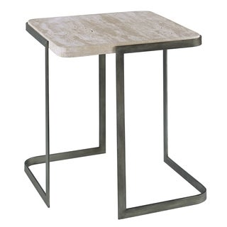 Deaton Contemporary Natural Travertine End Table