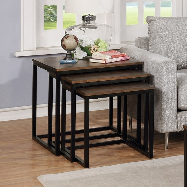 Arcadia Brown Acacia Wood 24-inch Square Nesting End Tables