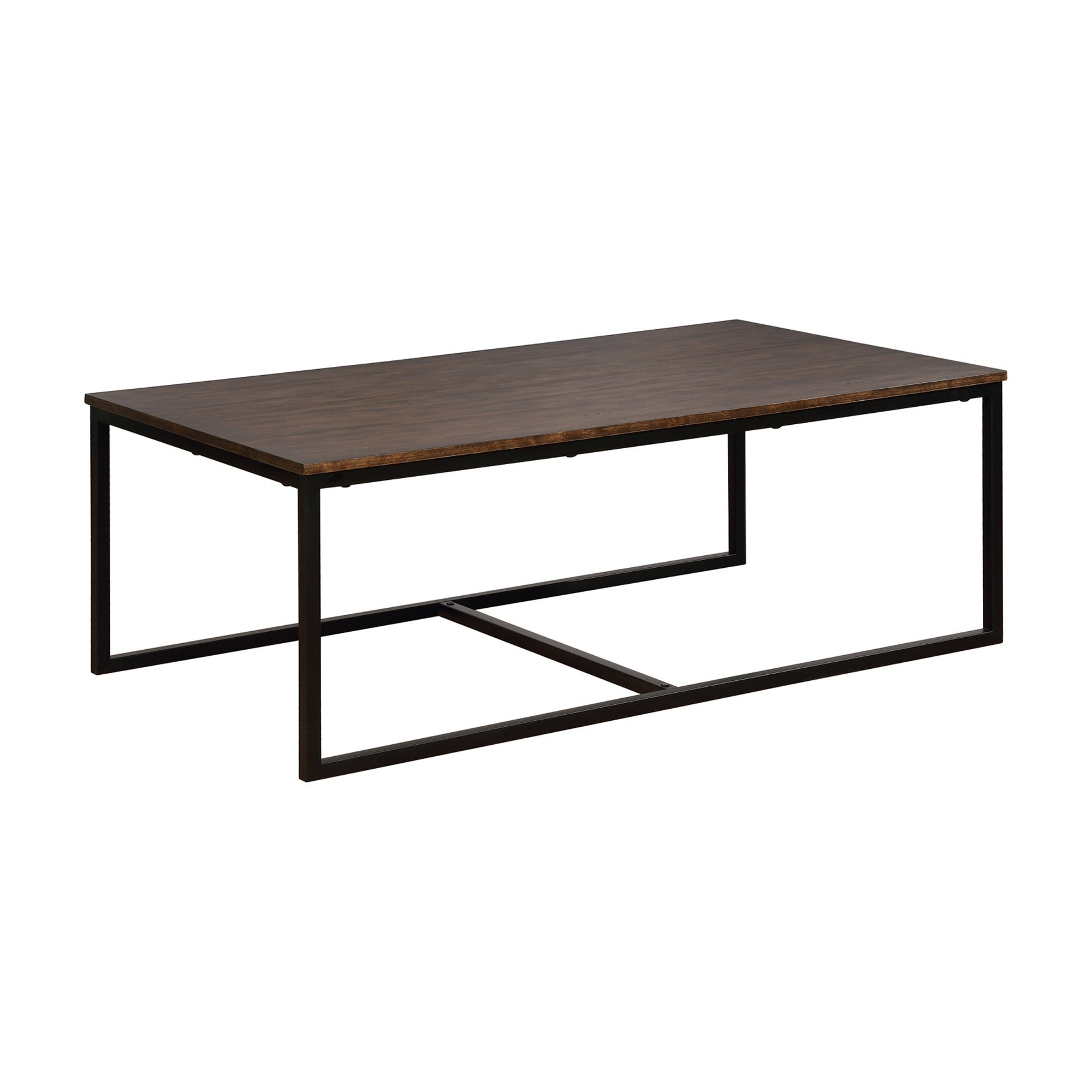 Arcadia Antiqued Mocha Acacia Wood/Metal 54-inch Coffee Table