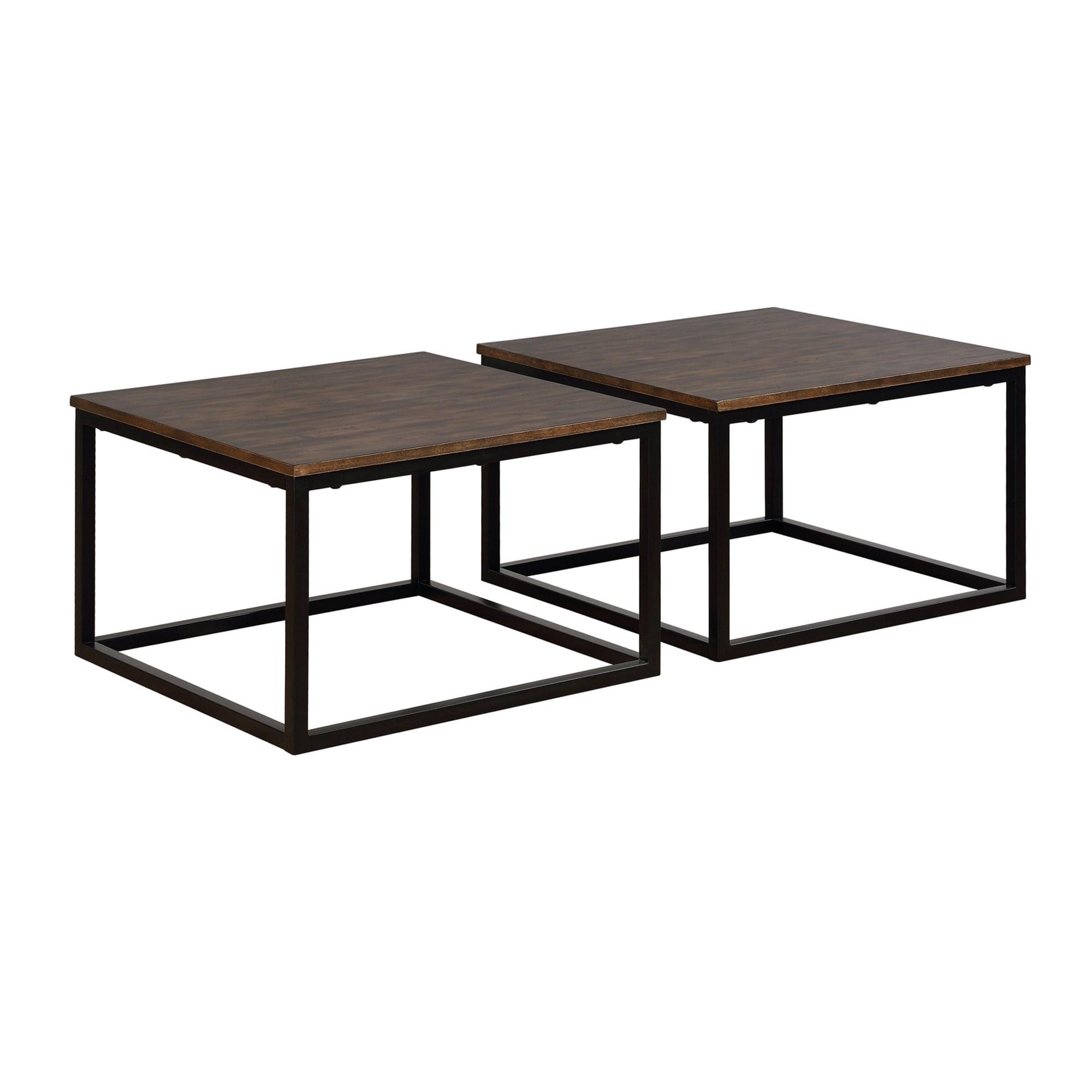 Arcadia Acacia Wood Square Coffee Tables Set Of 2
