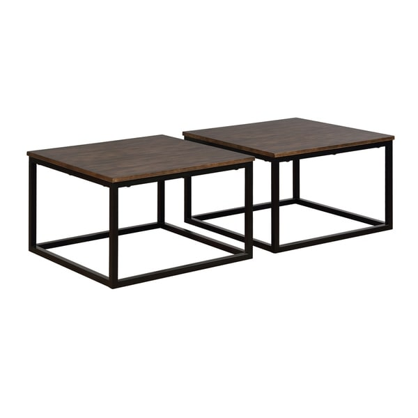 Arcadia Acacia Wood Square Coffee Tables (Set of 2)