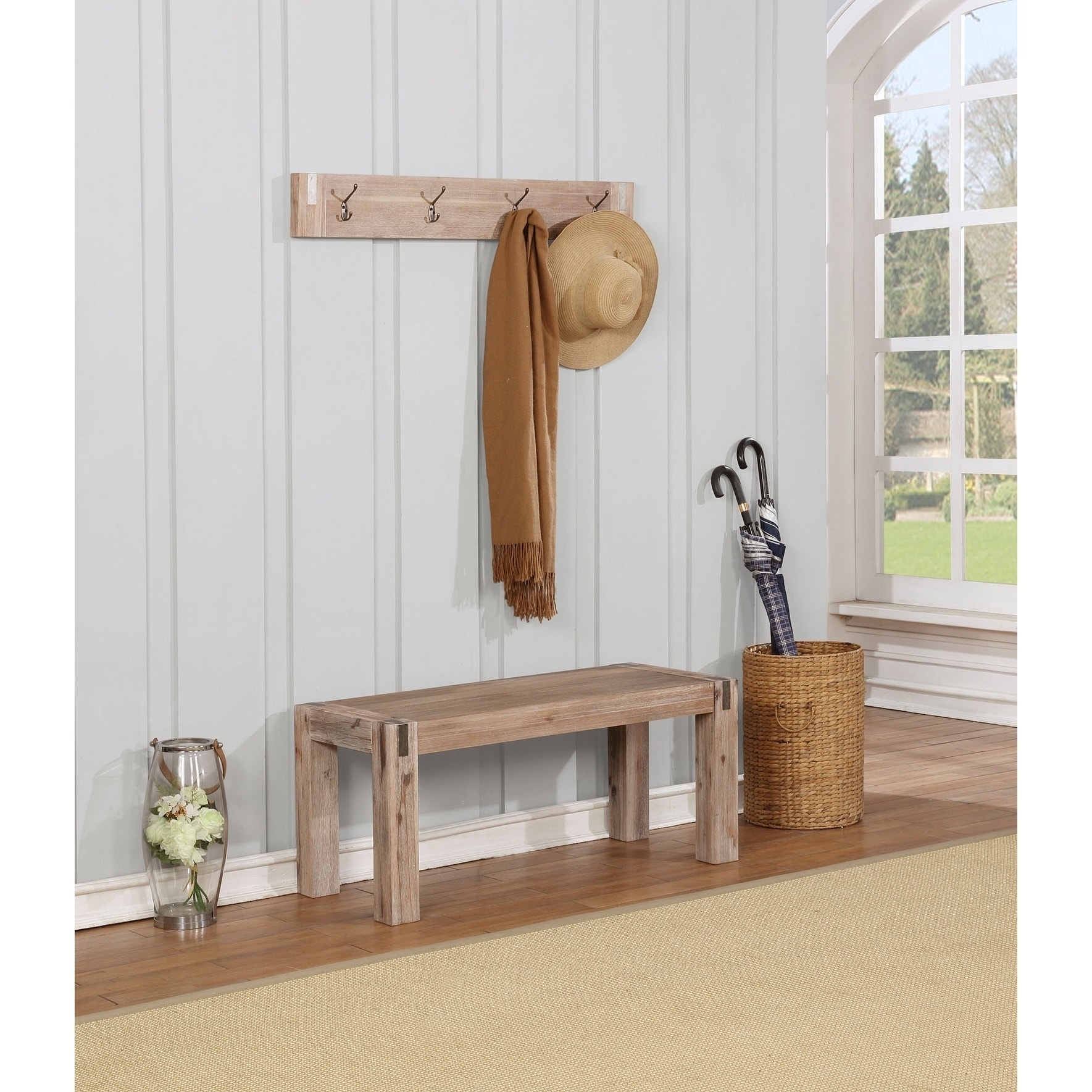 Woodstock Brushed Driftwood Acacia Wood with Metal Coat Hook and Bench Set
