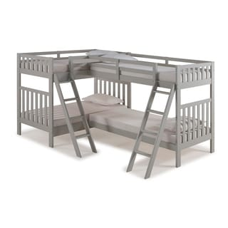 Aurora Solid Wood Twin Over Twin Bunk Bed with Quad Bunk Extension (Grey)