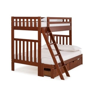 Aurora Solid Wood Twin Over Full Bunk Bed with Storage Drawers (Brown)