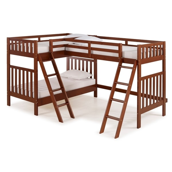 Aurora Solid Wood Twin Over Twin Bunk Bed with Third Bunk Extension