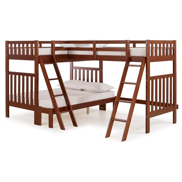 Aurora Solid Wood Twin Over Full Bunk Bed with Tri-Bunk Extension