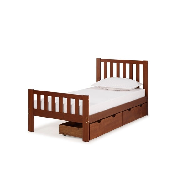 Shop Aurora Solid Wood Twin Bed With Storage Drawers
