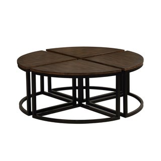 Arcadia Industrial Mocha/Black Acacia Wood Round Wedge Tables (Set of 4)
