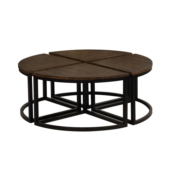 Arcadia Industrial Mocha/Black Acacia Wood Round Wedge Tables (Set of 4)
