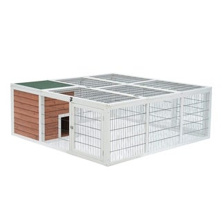 """PawHut 64"""" Wooden Outdoor Rabbit Cage Hutch Playpen With Run And Enclosed Mesh Cover"""
