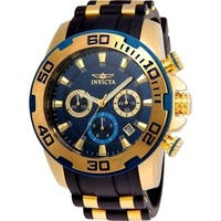Invicta Men's 22341 'Pro Diver' Scuba Black and Gold-Tone Polyurethane and Stainless Steel Watch