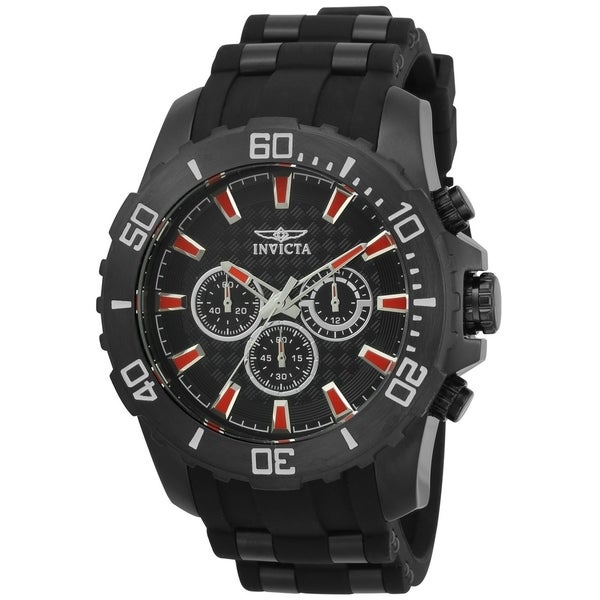 577a2624f Shop Invicta Men's 22560 'Pro Diver' Scuba Black Polyurethane and Stainless  Steel Watch - Free Shipping Today - Overstock - 22407131