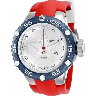 Invicta Men's 'Marvel' Captain America Automatic Red Silicone Watch