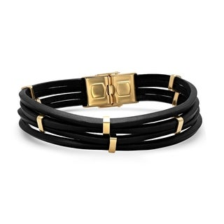 Steeltime Men's Black Leather Layered Bracelet with Gold Tone Stainless Steel Accents and Clasp