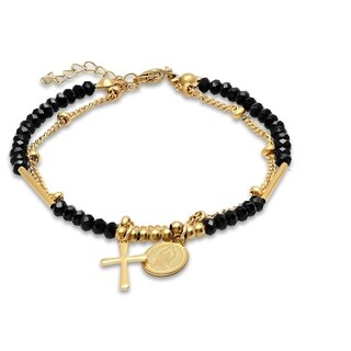 Piatella Ladies Gold Tone Stainless Steel and Black Crystal Cross and Religious Charm Bracelet