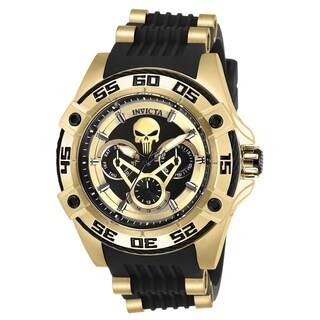 Invicta Women's 'Marvel' Ironman Black and Gold-Tone Polyurethane and Stainless Steel Watch