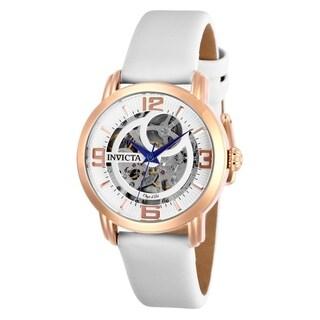 Invicta Women's 'Objet D Art' Automatic White Leather Watch