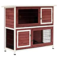 "Pawhut 48"" Enclosed 2 Story Wooden Rabbit Hutch with Pull Out Tray and Ramp"