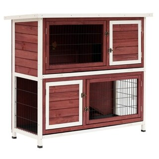 """Pawhut 48"""" Enclosed 2 Story Wooden Rabbit Hutch with Pull Out Tray and Ramp"""