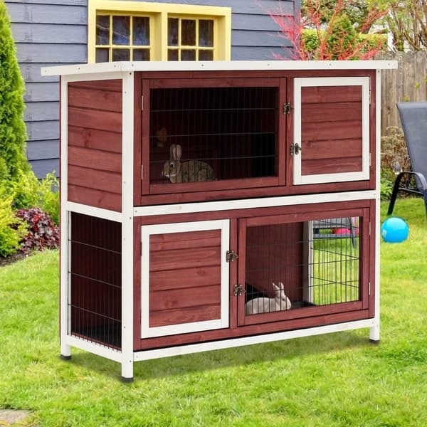 Pawhut 48 Enclosed 2 Story Wooden Rabbit Hutch With Pull Out Tray And Ramp Overstock 22407422