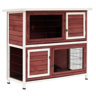 "Link to Pawhut 48"" Enclosed 2 Story Wooden Rabbit Hutch with Pull Out Tray and Ramp Similar Items in Chicken Coops & Pens"