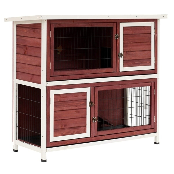 Shop Pawhut 48 Quot Enclosed 2 Story Wooden Rabbit Hutch With
