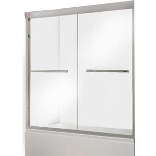 ALEKO Glass Dual Sliding Shower Door 60 x 76 Inches Brushed Nickel
